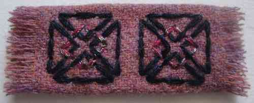 'Harris Tweed' Barrette CELTIC-CROSS, Stitched