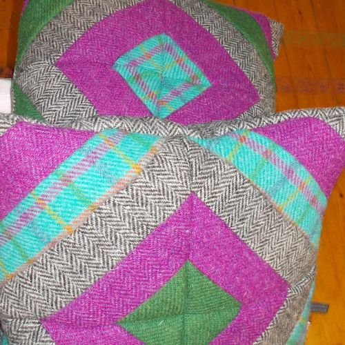 Quilted Cushion with the Harris Tweed Jelly Roll Autumn PRODUCT