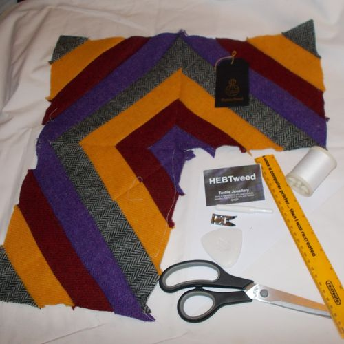 Quilted Cushion with the Harris Tweed Jelly Roll Summer (KIT)