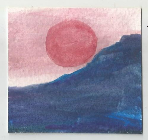 Water colour PAINTING:  Red Sun
