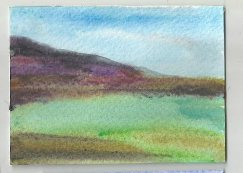 Water colour PAINTING:  Purple Hill Mirror