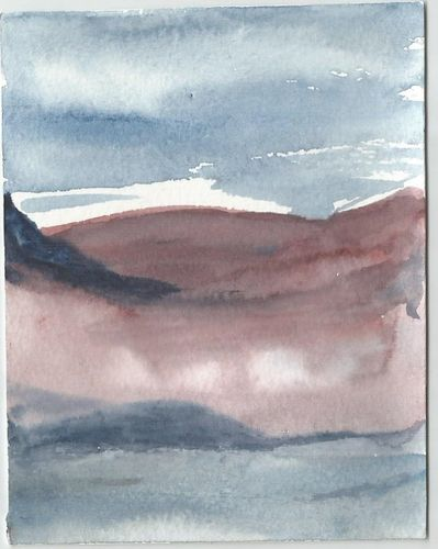 Water colour PAINTING:  Mist in the Foothills